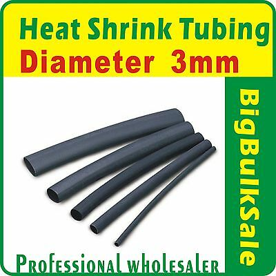 200m x Heat Shrink Tubing Diam 3mm Black Aus Seller