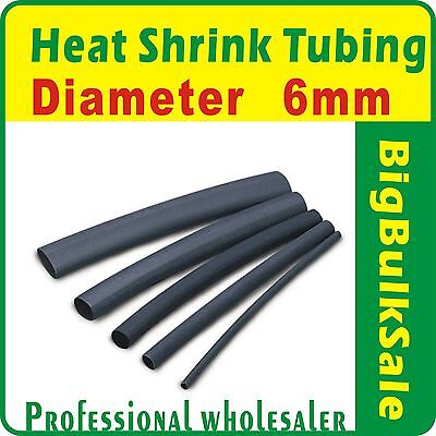 100m x Heat Shrink Tubing Diam 6mm Black Aus Seller