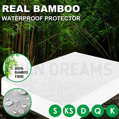 All Size Fully Fitted Bamboo Fibre Fiber Waterproof Mattress Protector Cot Cover