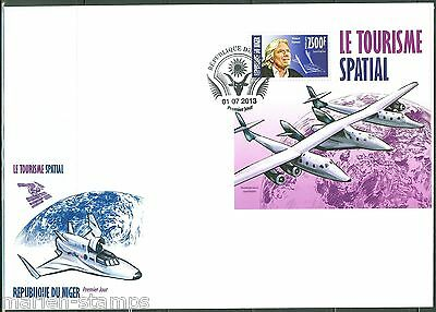 Niger 2013 Space Tourism Richard Branson Souvenir Sheet First Day Cover