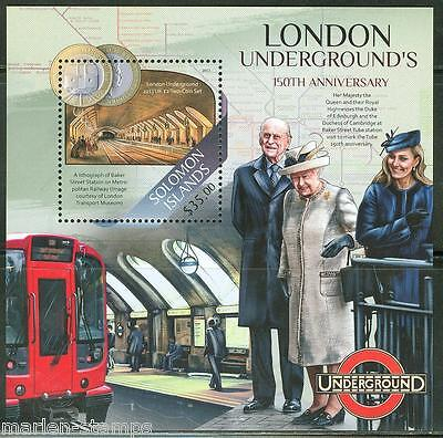SOLOMON ISLANDS  2013 150th ANNIVERSARY LONDON UNDERGROUND QE II & KATE S/S MINT