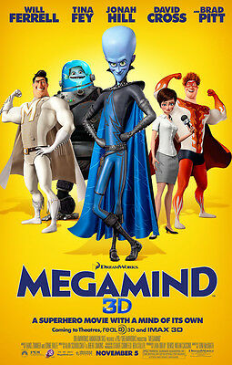 MEGAMIND Original Movie Poster - Double Sided 27x40 ~ Will Ferrell Tina Fey