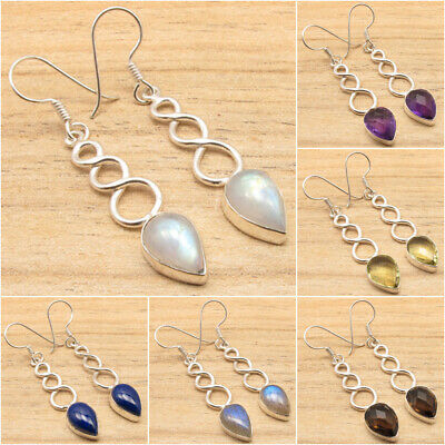 925 Silver Plated Earrings MOONSTONE, PEARL & OTHER 19 GEMS SEE MORE ! GEMSET