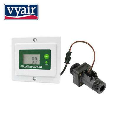 Digital Flow Meter 2.4-60 Litres Min & volume too, Panel Mount battery/mains