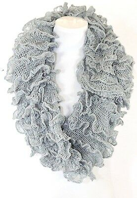 B42 Layered Ruffle White Sequin Lace Wavy Infinity Cowl Scarf  Boutique $86