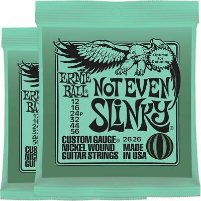 2 x Ernie Ball 2626 Not Even Slinky Drop Tuning Electric Guitar Strings 12 - 56