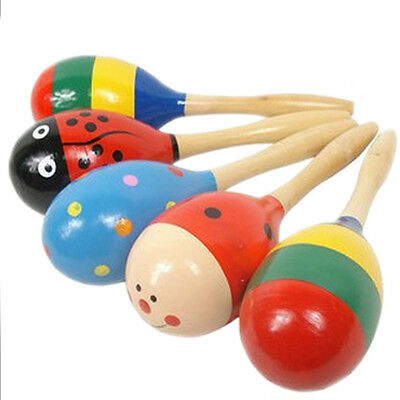 New Baby Kids Wooden Maraca Wood Musical Party Favor Child Shaker Beach Toys 1pc