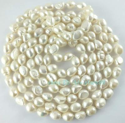 10-12mm Natural White Freshwater Oval Freeform Pearl Loose Beads 64''