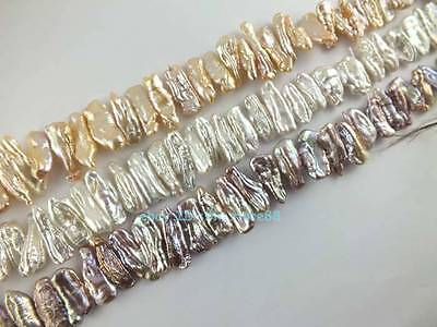 5x17-7x20mm Natural Freshwater Tusk Flat Pearl Loose Beads 15''