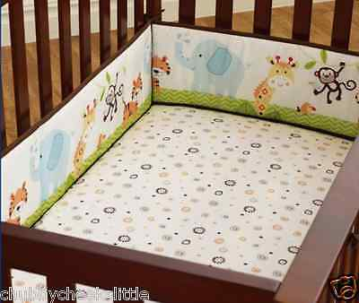 Baby Crib Cot Bassinette Bumper Pad Padded & Quilted Full Surround 4pcs