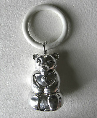 Vintage Germany WMF Silver Plate Teddy Bear Baby Rattle Teething Ring