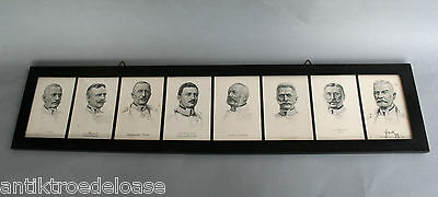 8x AK Portraits Of German Officers And Statesmen, 1.WK, Frame L: 80cm
