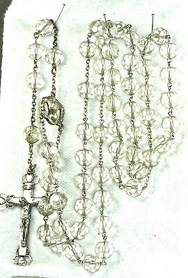 Vintage Antique Italian Italy Clear Crystal Sterling Silver Rosary