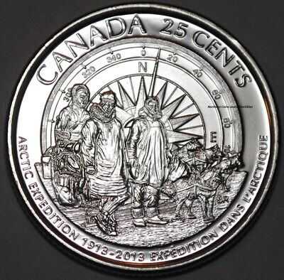 Canada 2013 Arctic Expedition 25 Cents from Roll BU Canadian Quarter