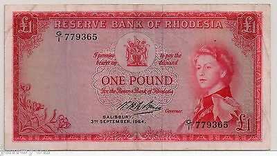 ~ RHODESIA  One Pound (£1) Banknote - 1964 - P25 ~