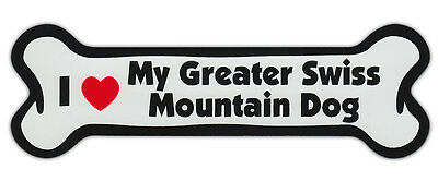 Dog Bone Shaped Car Magnets: I LOVE MY GREATER SWISS MOUNTAIN DOG