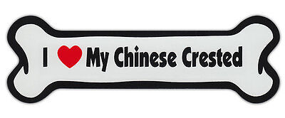 Dog Bone Shaped Car Magnets: I LOVE MY CHINESE CRESTED