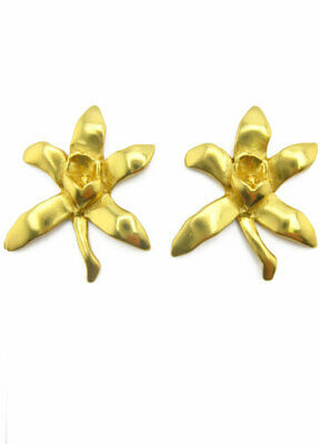 ACROSS THE PUDDLE 24k Gold Plated Pre-Columbian Orchid Drop Earrings