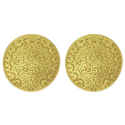 ACROSS THE PUDDLE 24k Gold Plated Pre-Columbian Aztec Calendar Drop Earrings