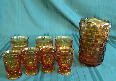 Amber Gold Glass Cube/cubist Style Pitcher & 7 Glasses