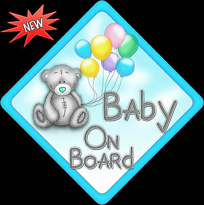 Non Personalised Baby on Board Car Sign Our Teddy with Balloons Blue Diamond