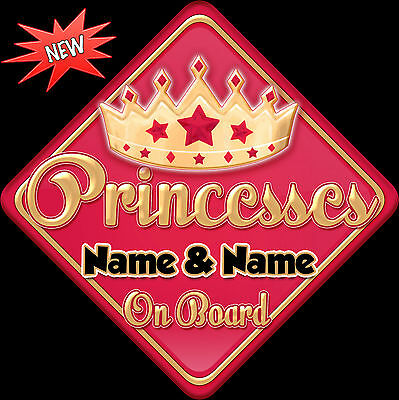 Personalised Baby On Board Car Sign ~ Princesses Red & Gold 2 Names
