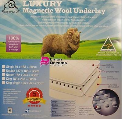 Aus Made Deluxe Fully Fitted Magnetic Wool Underlay/Underblanket- All Size