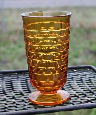 Amber Glass Cube/cubist Water Goblet Glass Footed