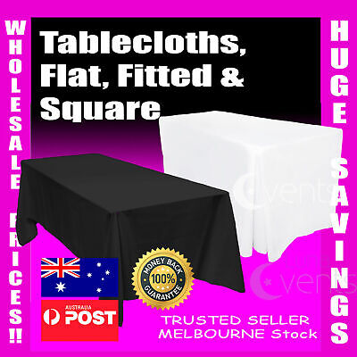 Tablecloths Wedding Rectangle Square Event Party Fitted Table Cloth White
