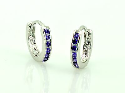 solid.925 sterling silver high end quality amethyst cz 10mm baby earring huggies