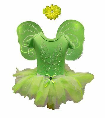 green Tinkerbell Baby Tutu Set Fairy tale Wings 80's Fancy Dress Party Sparkle