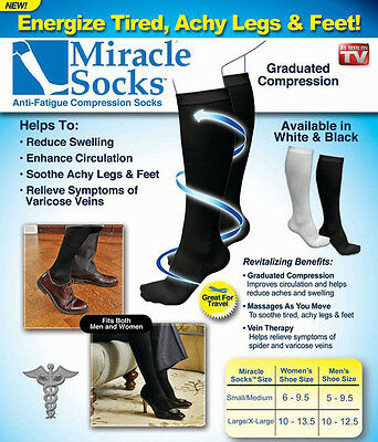 Miracle Socks Relief for Aching Feet Varicose Veins DVT Flight Travel