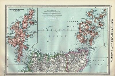 Antique Map - Northern Scotland With The Orkneys 1906 Harmsworth Atlas