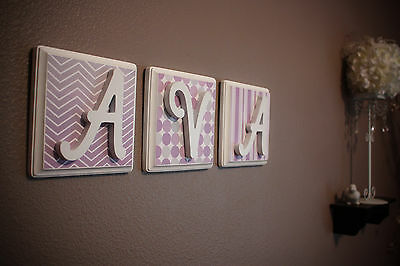 Custom Wooden Letters for Baby Nursery Girl or Boy