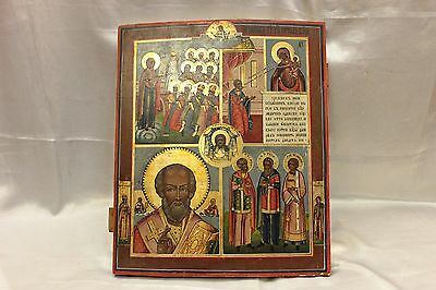Antique Original Perfect Russian  Hand Painted Big Heavy Icon