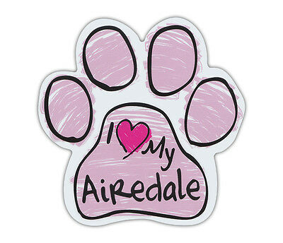 Pink Scribble Paws: I LOVE MY AIREDALE TERRIER | Dog Paw Shaped Car Magnets