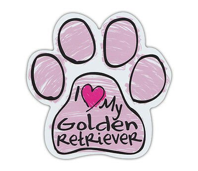 Pink Scribble Paws: I LOVE MY GOLDEN RETRIEVER | Dog Paw Shaped Car Magnets