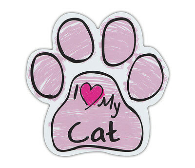 Pink Scribble Paws: I LOVE MY CAT | Cat Paw Shaped Car Magnets