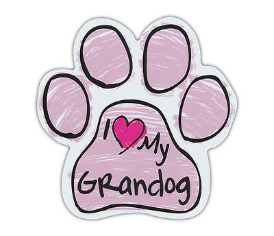Pink Scribble Paws: I LOVE MY GRANDOG GRAND DOG | Dog Paw Shaped Car Magnets