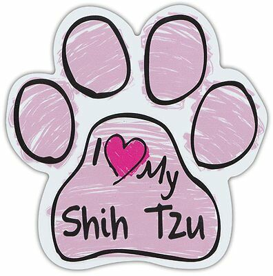Pink Scribble Paws: I LOVE MY SHIH TZU | Dog Paw Shaped Car Magnets