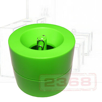 Green Magnetic Paper Clips Holder (50 Pc Silver Paper Clips Include)