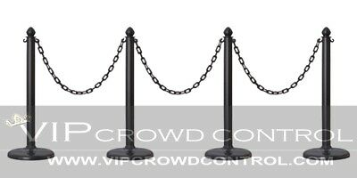 Plastic Stanchion, 4Pcs Set + 32' Chain, Color In Black, Vip Crowd Control