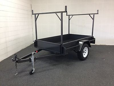 HEAVY DUTY 7x4 Box Trailer Fitted Rack, New Tyres & Jockey Wheel