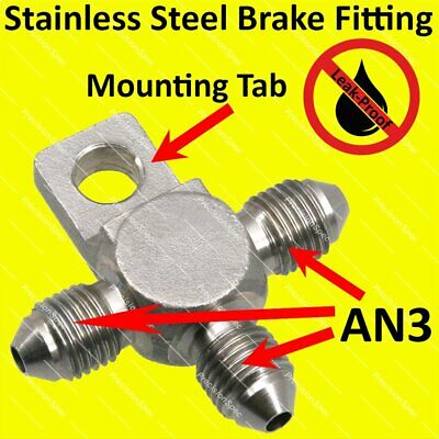 AN3 3AN Stainless Steel Male Flare Tee Fitting Adapter With Locating Lug