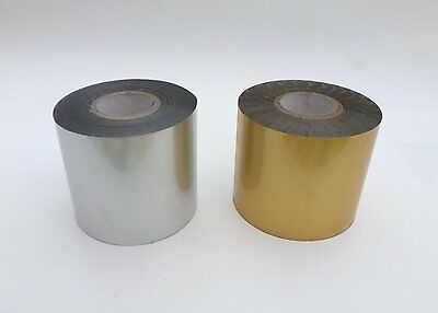 HOT FOIL STAMPING 2 ROLLS GOLD OR SILVER BLOCKING FOIL 122mts - SIZE CHOICE #4