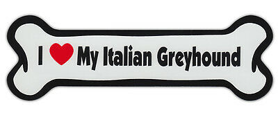 Dog Bone Shaped Car Magnets: I LOVE MY ITALIAN GREYHOUND GRAYHOUND