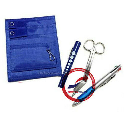 WHITE Pocket Organizer Medical Belt Loop + Scissor + LED Penlight +Pen Nurse KIT