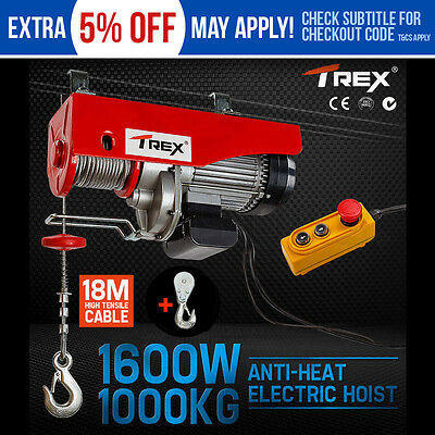 T-REX Electric Hoist Winch 500kg/1000kg Cable Lift Remote Chain Lifting Rope