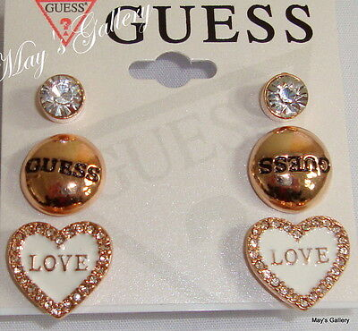 GUESS Jeans Rhinestones Trio Earring Earrings Post 3 set  Gold   Charms  NWT
