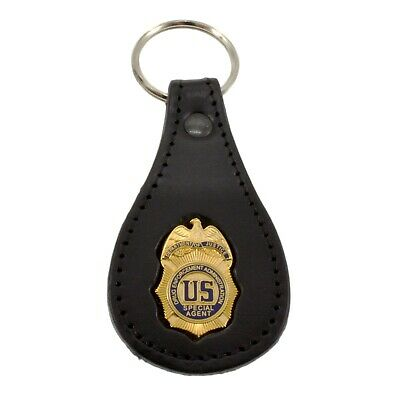 DEA Federal Drug Enforcement Agency Special Agent Badge Leather Key FOB Ring Tag